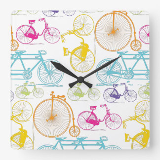 Vintage Modern Bicycle Bright Color Retro Pattern Square Wall Clock