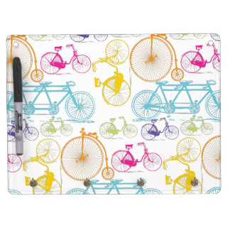 Vintage Modern Bicycle Pattern Decor Dry Erase Board With Keychain Holder