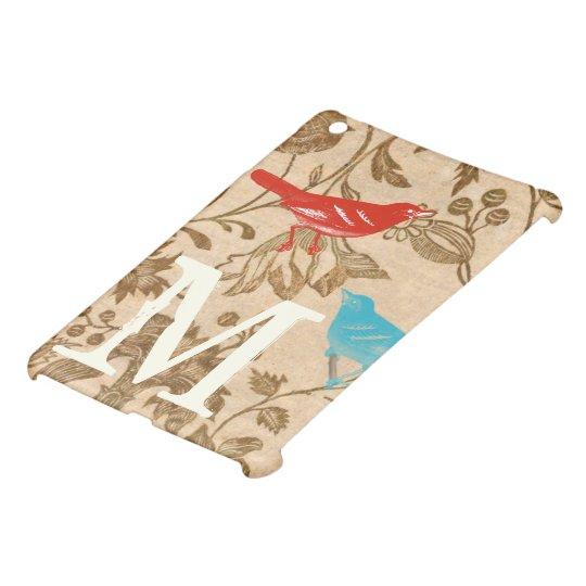 Vintage Modern Bird Floral Monogam iPad Mini Case For The iPad Mini
