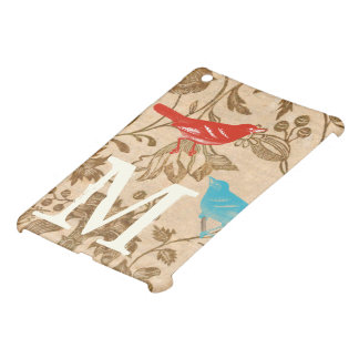 Vintage Modern Bird Floral Monogam iPad Mini iPad Mini Covers