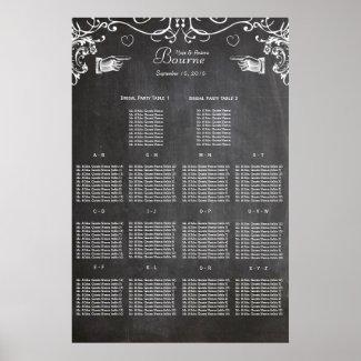 Vintage Modern Black Chalkboard Seating Chart