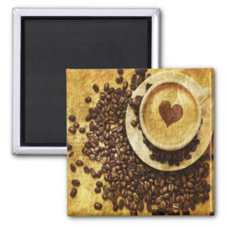 vintage modern coffee beans cappuccino heart 2 inch square magnet