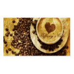 vintage modern coffee beans cappuccino heart business card