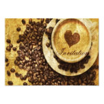 vintage modern coffee beans cappuccino heart personalized invites