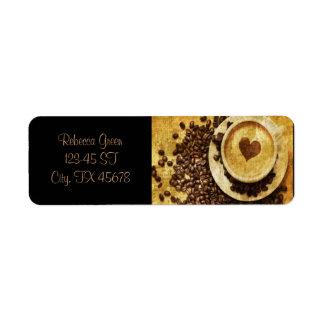vintage modern coffee beans cappuccino heart return address label
