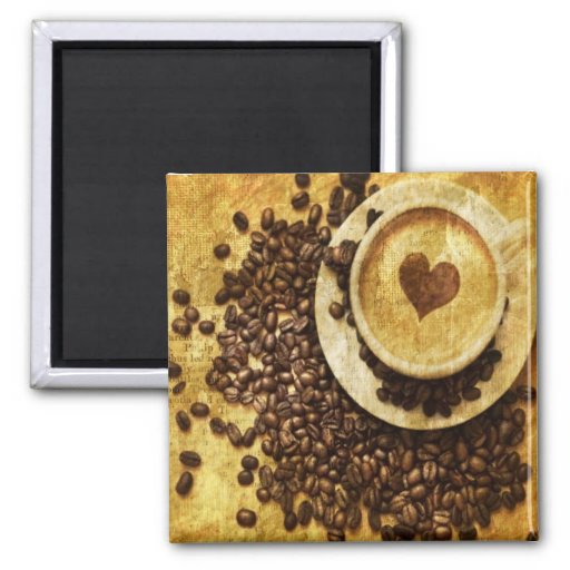 vintage modern coffee beans cappuccino heart fridge magnet