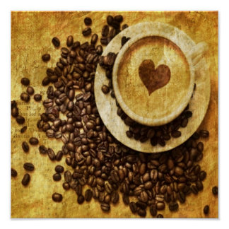 vintage modern coffee beans cappuccino heart poster