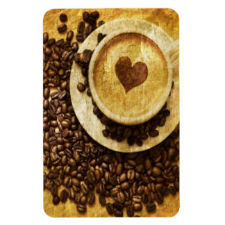 vintage modern coffee beans cappuccino heart rectangular photo magnet