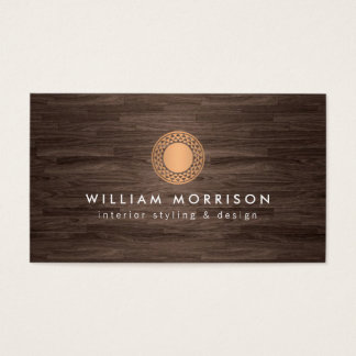 Vintage Modern Copper Sun Logo on Dark Wood Business Card