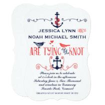 Vintage Modern Coral Bird Navy Nautical Wedding Invitation