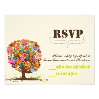 Vintage Modern Cute Bird Flower Tree Wedding RSVP