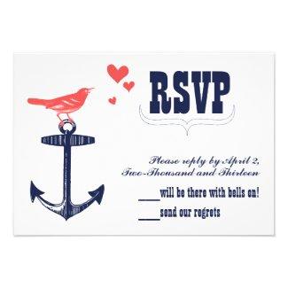 Vintage Modern Cute Coral Bird Navy Anchor RSVP