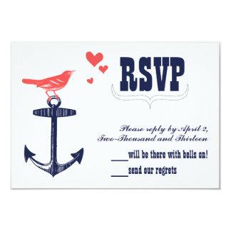 Vintage Modern Cute Coral Bird Navy Anchor RSVP 3.5x5 Paper Invitation Card