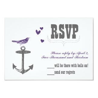 Vintage Modern Cute Purple Bird Gray Anchor RSVP 3.5x5 Paper Invitation Card