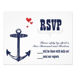 Vintage Modern Cute Red Bird Navy Anchor RSVP