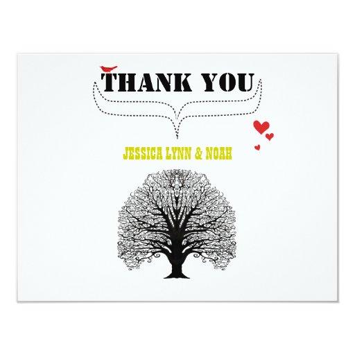 Vintage Modern Cute Swirl Tree Wedding Thank You Card