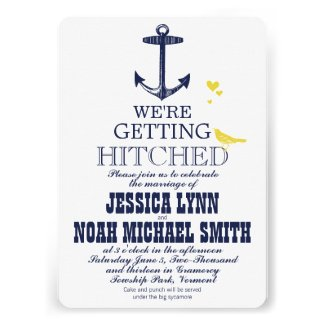 Vintage Modern Cute Yellow Bird Navy Anchor Personalized Announcements