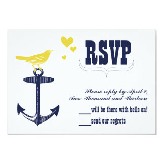 Vintage Modern Cute Yellow Bird Navy Anchor RSVP 3.5x5 Paper Invitation Card