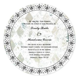 Vintage Modern Diamond Round Wedding Invitation