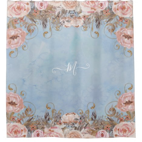 Vintage Modern Floral Blue Pink Watercolor Shower Curtain