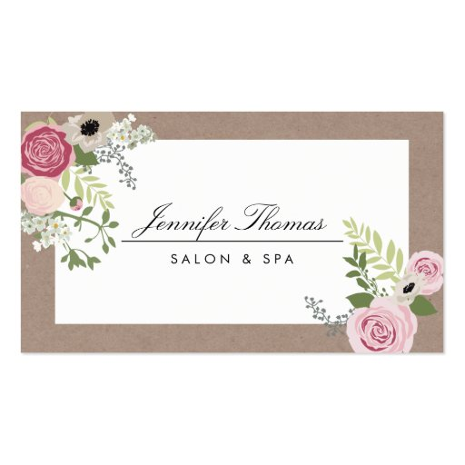 Vintage Modern Floral Motif Beauty Salon Business Cards