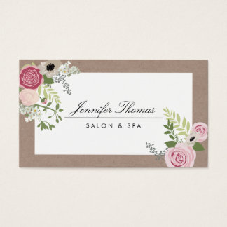 Vintage Modern Floral Motif Beauty Salon Business Card