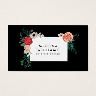 Vintage Modern Floral Motif on Black Designer Business Card