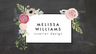Vintage business cards zazzle vintage modern floral motif on chalkboard designer business card reheart Gallery
