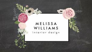 Vintage business cards templates zazzle vintage modern floral motif on chalkboard designer business card colourmoves