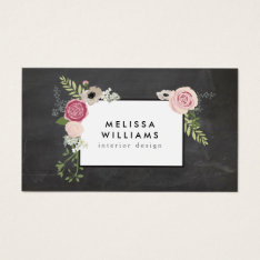 Vintage Modern Floral Motif On Chalkboard Designer Business Card at Zazzle