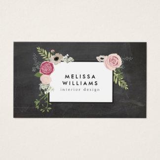 Vintage Modern Floral Motif on Chalkboard Designer Business Card