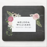 "Vintage Modern Floral Motif on Chalkboard Designer Mouse Pad<br><div class=""desc"">Coordinates with the Vintage Modern Floral Motif on Chalkboard Designer Business Card Template by 1201AM. Your name or business name is elegantly framed with a vintage floral motif in a modern styling set on a black chalkboard background image. This design is part of a series of coordinating office supplies. Shop...</div>"