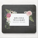 """Vintage Modern Floral Motif on Chalkboard Designer Mouse Pad<br><div class=""""desc"""">Coordinates with the Vintage Modern Floral Motif on Chalkboard Designer Business Card Template by 1201AM. Your name or business name is elegantly framed with a vintage floral motif in a modern styling set on a black chalkboard background image. This design is part of a series of coordinating office supplies. Shop...</div>"""