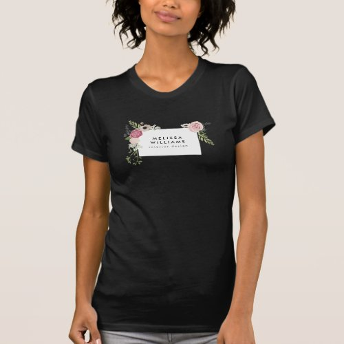 Vintage Modern Floral Motif on Dark T_shirt