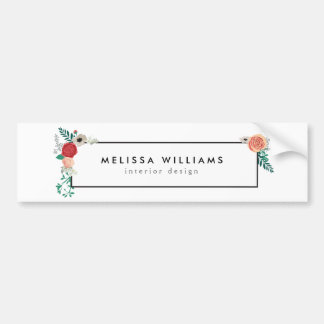 Vintage Modern Floral Motif on White Car Bumper Sticker