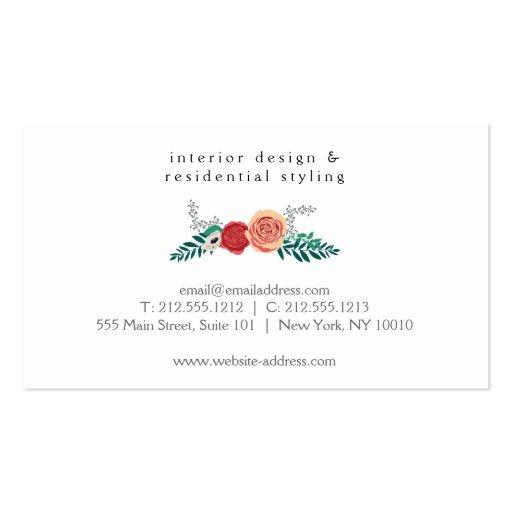 Vintage Modern Floral Motif on White Designer Business Cards (back side)