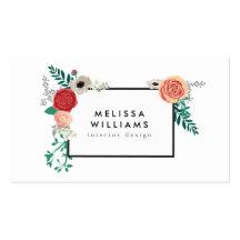 Vintage Modern Floral Motif on White Designer Business Cards