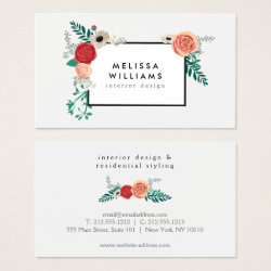 Vintage Modern Floral Motif on White Designer Business Card