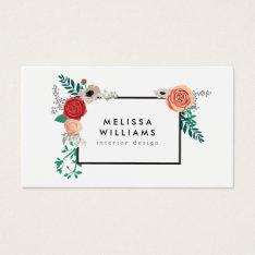 Vintage Modern Floral Motif On White Designer Business Card at Zazzle