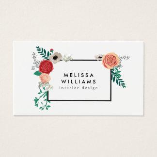 Vintage Modern Floral Motif on White Designer Business Card