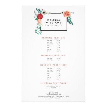 Vintage Modern Floral Motif on White Designer Flyer