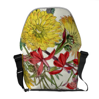 Vintage Modern Floral Pattern Rickshaw Bag Courier Bags