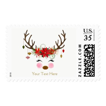 Toddler & Baby themed Vintage Modern Floral Reindeer Holiday Party Postage