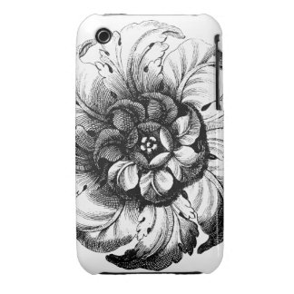 Vintage Modern Flower Design in Black and White iPhone 3 Covers