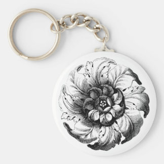 Vintage Modern Flower Design in Black and White Keychain