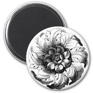 Vintage Modern Flower Design in Black and White Magnet