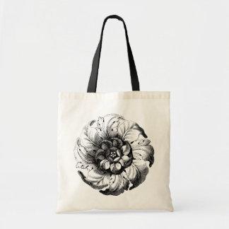 Vintage Modern Flower Design in Black and White Tote Bag
