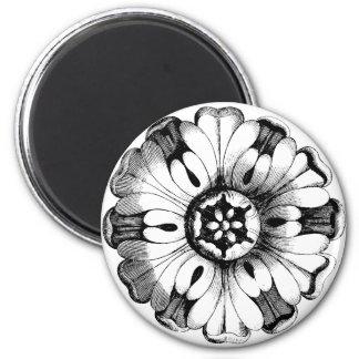 Vintage Modern Flower Medallion 2 Inch Round Magnet
