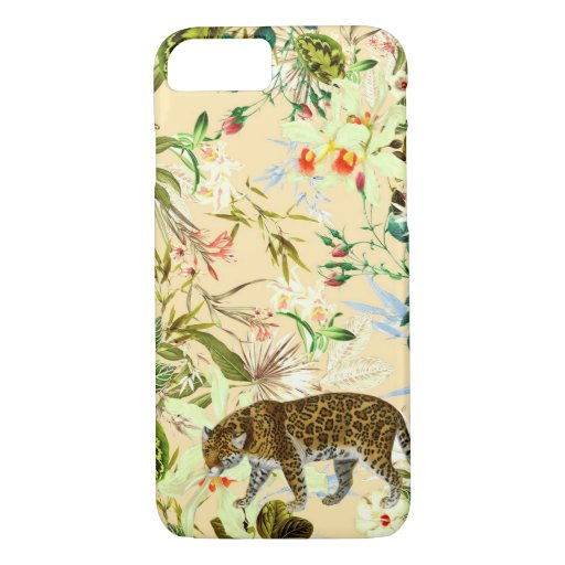 Vintage Modern Flower Tiger Jungle Tropical iPhone 8/7 Case