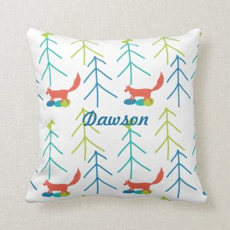 Vintage Modern Fox and Birds Pine Tree Neon Pillow